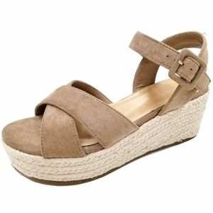 New Taupe Cross Straps Wedge Espadrille Sandals